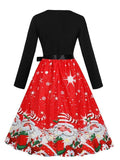 Red Christmas Floral Sashes Bow Round Neck Long Sleeve Midi Dress