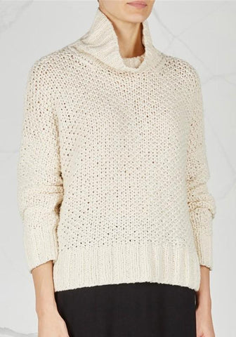 Beige Band Collar High Neck Long Sleeve Pullover Sweater