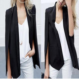 Black Plain Pockets Turndown Collar Cloak Oversized Elegant Blazer
