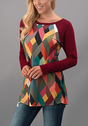 Burgundy Geometric Print Round Neck Long Sleeve Casual T-Shirt