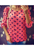 Red Love Print Single Breasted Round Neck Blouse