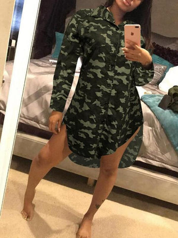 Army Green Camouflage Single Breasted Turndown Collar High-low Casual Midi Dress
