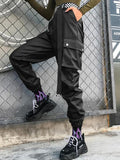 New Black Pockets Pu Leather Pockets Poppin High Waisted Rubber Cargo Long Pants