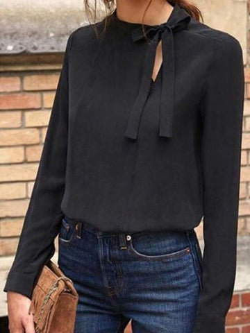 Black Bow Cut Out Round Neck Long Sleeve Casual Blouse