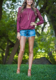 Purple Patchwork Lace Round Neck Long Sleeve Casual T-Shirt