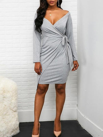 Grey Plain Sashes Deep V-neck Long Sleeve Going out Mini Dress