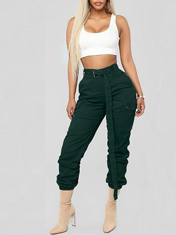 Green Pockets Belt Zipper High Waisted Casual Long Cargo Pants