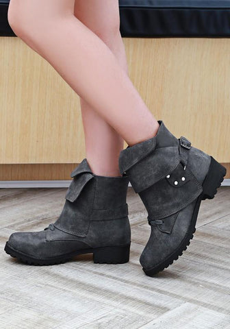 New Grey Round Toe Chunky Rivet Buckle Casual Ankle Boots