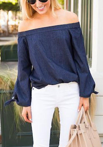 Blue Bow Off Shoulder Long Sleeve Fashion Jean Blouse