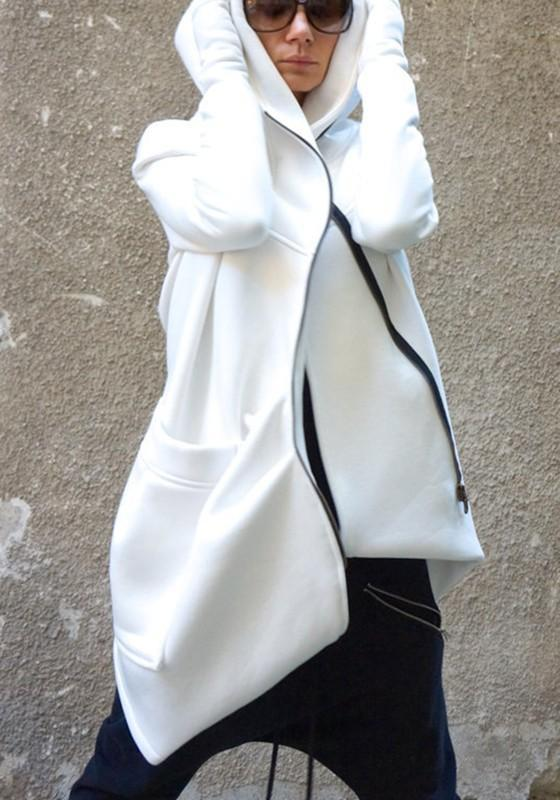 White Plain Zipper Irregular Pockets Hooded Casual Coat