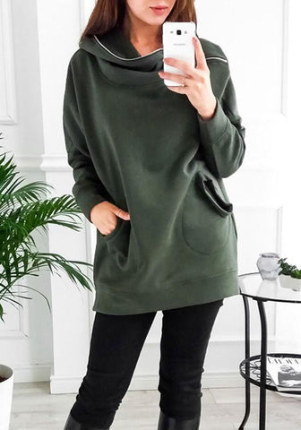 New Army Green Patchwork Hooded Long Sleeve Pockets Zipper Fashion Pullover Sweatshirt