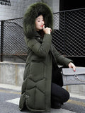 Army Green Patchwork Fur Pockets Single Breasted Drawstring Zipper Side Slit Hooded Long Sleeve Casual Coat