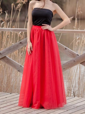 Red Draped Pleated Grenadine High Waisted Elegant Skirt