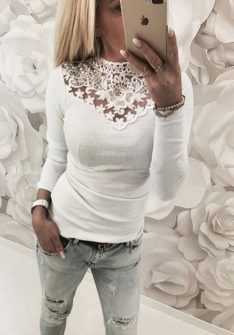 White Patchwork Grenadine Cut Out Round Neck Fashion T-Shirt