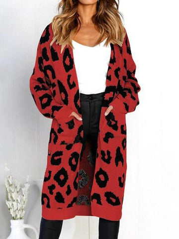 New Red Leopard Pattern Pockets Long Sleeve Chirstmas Casual Cardigan Sweater