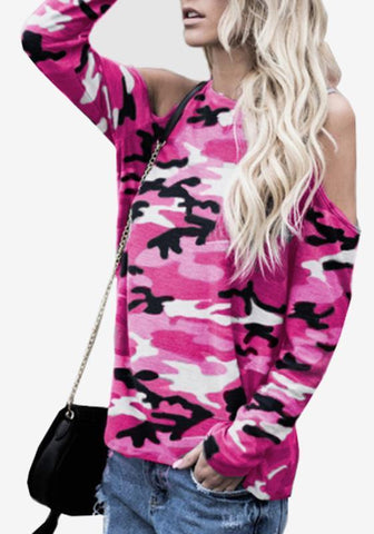 Rose Carmine Camouflage Cut Out Sleeve Casual Going out T-Shirt