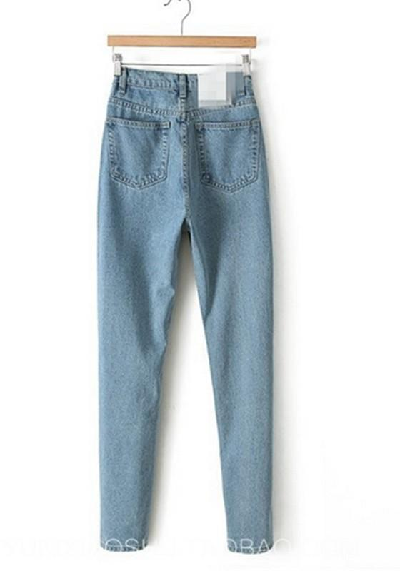 Light Blue Pockets Buttons High Waisted Boyfriend Slacks Mom Long Jeans