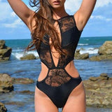 Black Patchwork Lace Hollow-out Cut Out See-through One Piece Swimwear