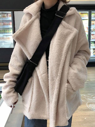 New Apricot Pockets Turndown Collar Long Sleeve Oversized Coat