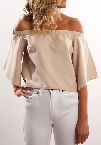 Apricot Slit Boat Neck 3/4 Sleeve Fashion Loose Blouse