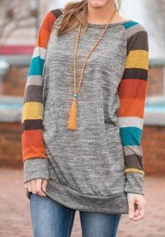 New Yellow Patchwork Knitted Long Sleeve Sweatshirt