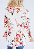 White Floral Draped V-neck 3/4 Sleeve Casual T-Shirt