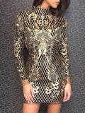New Golden Sequin Backless High Neck Long Sleeve Party Mini Dress