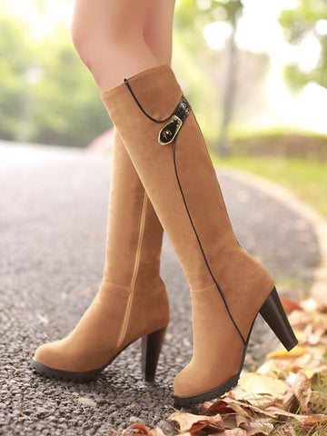 Apricot Round Toe Chunky Buckle Fashion Knee-High Boots