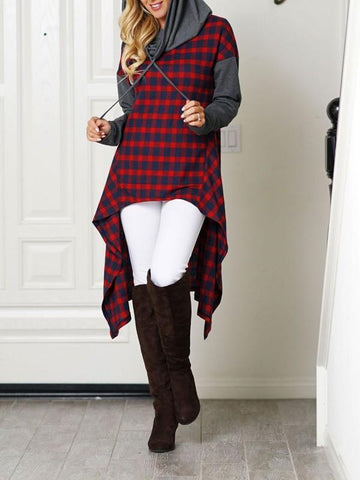 New Red Plaid Print Irregular Drawstring Hooded Long Sleeve Casual Sweatshirt