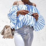 Blue Striped Drawstring Boat Neck Long Sleeve Fashion Blouse