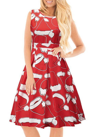 Red Floral Pleated Round Neck Sleeveless Cute Christmas Midi Dress