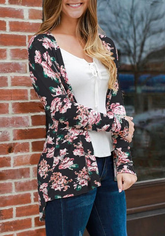 Black Floral Draped Irregular Long Sleeve Casual Outerwear