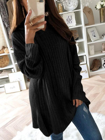 Black Drawstring Long Sleeve Casual Polyester Pullover Sweater