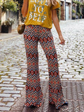 Orange Geometric Tribal High Waisted Vintage Hippie Boho Bell Bottom Long Flare Pants