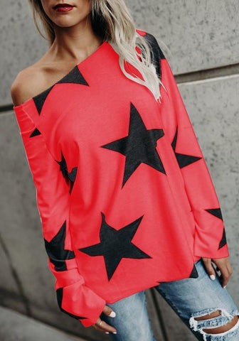 Red Galaxy Print Round Neck Long Sleeve Casual T-Shirt