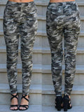Army Green Camouflage Print Pleated High Waisted Casual Long Pants