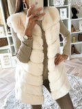 Beige Patchwork Faux Fur Sleeveless Fashion Outerwear
