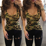 Green Camouflage Round Neck Fashion Loose Thin Vest