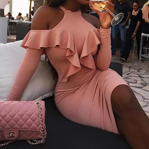 Pink Cut Out Ruffle Round Neck Fashion Midi Dress