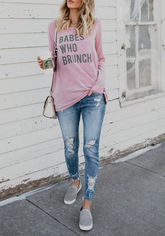 "Pink ""BEBAS WHO BRUNCH"" Print Round Neck Going out Casual T-Shirt"