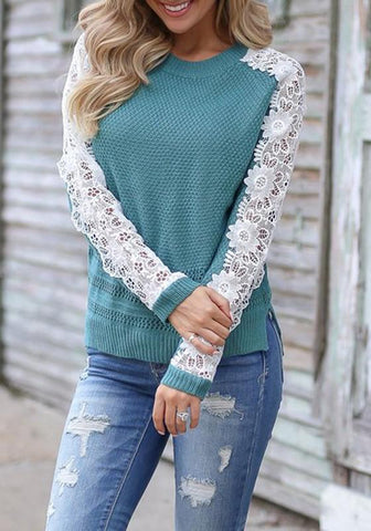 Blue Patchwork Lace Round Neck Long Sleeve Casual Pullover Sweater