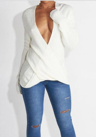 White Asymmetric Shoulder Cross Plunging Neckline Long Sleeve Fashion Sweater Pullover