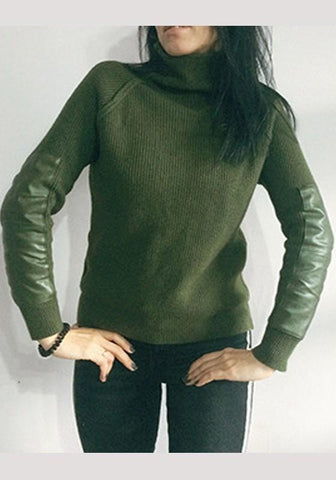 Army Green Patchwork High Neck Fashion Pullover Sweater