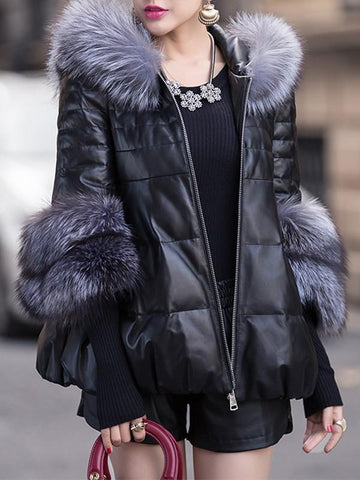 New Black PU Leather Faux Fur Zipper Hooded Fashion Outerwear