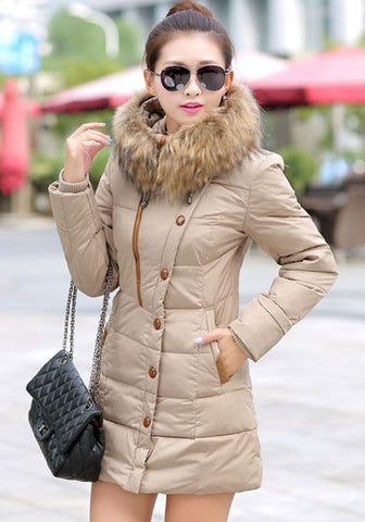 Beige Patchwork Pockets Fur Hooded Long Sleeve Fashion Parka Coat