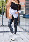 Black Patchwork Irregular Boat Neck Fashion Blouse