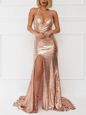 New Golden Patchwork Sequin Side Slit Backless Spaghetti Strap Draped Big Swing Homecoming Party Elegant Maxi Dress
