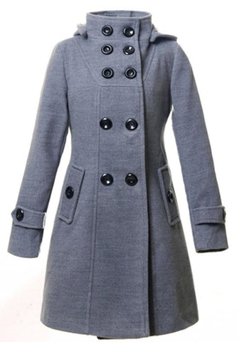 Grey Pockets Buttons Hooded Long Sleeve Casual Coat