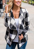 Black Plaid Print Irregular Long Sleeve Casual Cardigan Coat