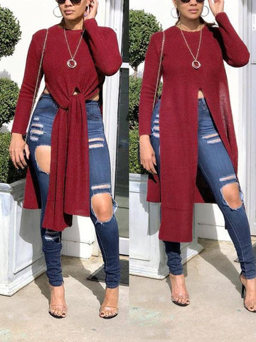Date Red Irregular Front Slit High-Low Long Sleeve Round Neck Casual Blouse